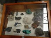 Sale 7905A - Lot 1674 - Display Case containing 17 Good Specimens including Meteorite, Pyrite, Azurite, etc