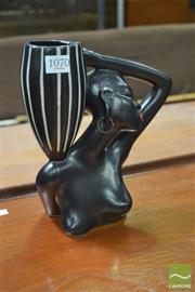 Sale 8338 - Lot 1070 - Barsony Style Black Lady Figurine Vase (marked H-13)