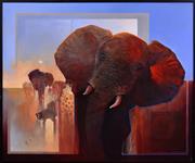 Sale 8408 - Lot 575 - Mel Brigg (1950 - ) - Charging Bull 150 x 181cm
