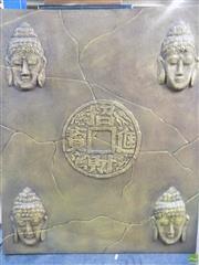Sale 8578T - Lot 2094 - Canvas Artwork Depicting Buddha Around a Central Talisman (120 x 90cm)