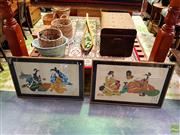 Sale 8631 - Lot 2059 - (2 Works) contemporary Japanese watercolours, Japanese Scene, 69 x 103cm each (frame size)