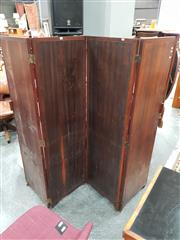 Sale 8680 - Lot 1044 - Timber Four Panel Dressing Screen
