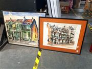 Sale 8682 - Lot 2059 - Teal (2 Works), Terrace Houses, ink and watercolour, 56 x 66cm (largest frame size), each signed lower