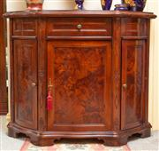 Sale 8774A - Lot 85 - A three door side cabinet with burr walnut panelled doors and single frieze drawer, H x 86cm, W x 104cm, D x 41cm