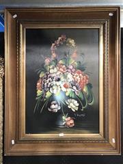 Sale 8779 - Lot 2010 - L Riccardi - Still Life Flowers, oil on canvas, 91 x 71cm, signed