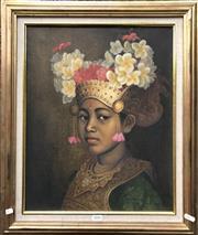 Sale 8807 - Lot 2056 - Artist Unknown (Balinese School) Portrait of Woman in Ceremonial Wear acrylic on canvas, 63.5 x 53cm (frame), signed lower -