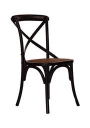 Sale 8957T - Lot 32 - Set of 8 black solid Elm cross back chairs. W: 47 D: 47 H: 90