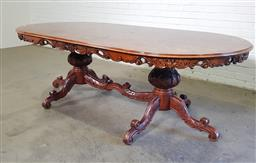 Sale 9157 - Lot 1087 - Italian style oval dining table with bur finish and carved skirt (h:76 x w:240 x d:118cm)