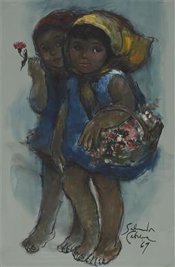 Sale 9161A - Lot 5100 - SALVADOR CABRERA (1930 - 1986) - Flower Sellers, 1969 90 x 59.5 cm (frame: 102 x 71 x 3 cm)