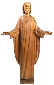 Sale 8599A - Lot 76 - A mid C20th intricately carved solid timber figure of Jesus. Provenance: Holy Family Catholic Church, Lindfield, Sydney, H 154 x W 94cm