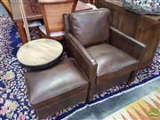 Sale 8554 - Lot 1034 - Box Whisky Top Grain Leather Armchair & Matching Ottoman (2)