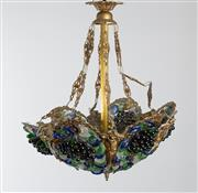 Sale 8775 - Lot 97 - An unusual gilt metal and multi coloured glass vine and grape applique ceiling light, French Circa 1950 diameter 55cm, drop approx 60cm