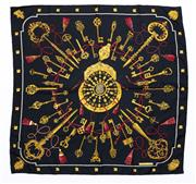 Sale 8760F - Lot 79 - An Hermes Les Clef silk scarf in black with golden keys