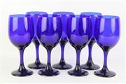 Sale 8802 - Lot 260 - Cobalt Blue Set of 7 Wine Glasses