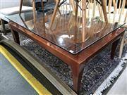 Sale 8868 - Lot 1584 - Timber Coffee table with Glass Top