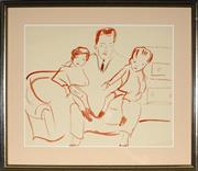 Sale 8941 - Lot 2017 - Artist Unknown Father and Children ink on paper, 30 x 37cm, unsigned -