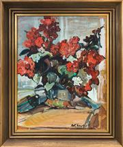 Sale 8958 - Lot 2041 - Beth Meyers Red Geraniums oil on board, 61 x 48 cm (frame), signed lower right