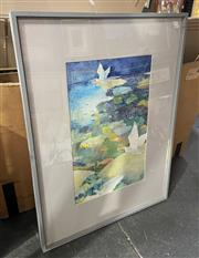 Sale 9004 - Lot 2065 - Janet Aliffe, Birdfish in the Sky, watercolour and gouache on paper, 95 x 71cm (frame) signed lower right