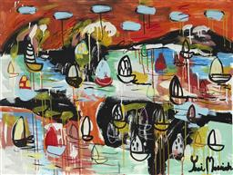 Sale 9157A - Lot 5019 - YOSI MESSIAH (1964 - ) Water Field of Colours, 2020 mixed media on board (unframed) 75 x 100 cm signed lower left, dated and titled ...
