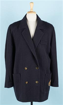 Sale 9092F - Lot 25 - A GIVENCHY EN PLUS DOUBLE BREASTED COAT; in navy blue with crest emblem to pocket & gold buttons to side. Size XXL