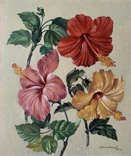 Sale 9142A - Lot 5008 - ADRIAN FEINT (1894 - 1971) - Hibiscus 29.5 x 40 cm (frame: 45 x 39.5 cm)