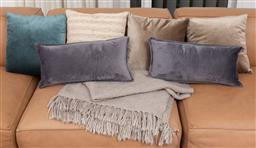 Sale 9150H - Lot 23 - A pair of smokey grey velvet cushions together with a navy pair example, Morgan & Finch throw, and others