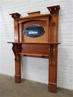 Sale 9157 - Lot 1083 - Vintage maple mirrored back fire surround (h:200 x w:142cm)