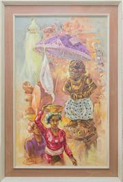 Sale 8375A - Lot 49 - L. Jiaksad - Temple Scene 78 x 48 cm