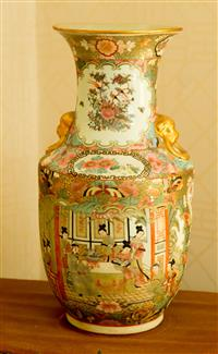 Sale 8392H - Lot 88 - A Famille Rose Baluster Vase with ring handles depicting interior scenes, flora and fauna, H 48cm