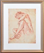 Sale 8408 - Lot 574 - Louis Kahan (1905 - 2002) - Crouching Nude, 1985 68 x 56cm