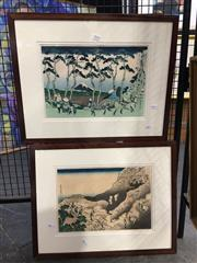 Sale 8726 - Lot 2018 - Pair of Japanese Woodblocks, each 43.5 x 55.5 (frame size)