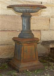 Sale 8745A - Lot 15 - A cast iron bird bath and pedestal, total H 110 x 70cm in diameter