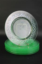 Sale 8827D - Lot 16 - A Uranium Glass Dessert Plate Setting for Eight Persons, Lightly Frosted in Diamond Pattern