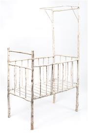 Sale 8988 - Lot 1026 - A very rare and well constructed depression era cot with white wash finish (sturdy), height 182, width 60, depth 107cm