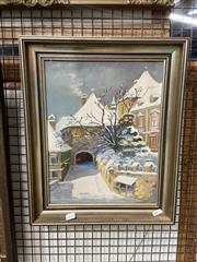 Sale 8932 - Lot 2075 - A. Bohn - Winter Village Sceneoil on board, signed -