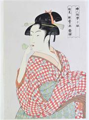 Sale 8931 - Lot 94 - Lady themed Japanese woodblock print by Utamaro from the Ten Studies in Female Physiognomy series (Fujin sougaku juttai) (38cm x 2...