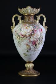 Sale 8935 - Lot 98 - Doulton Burslem Art Pottery Vase with floral decoration (H35cm)