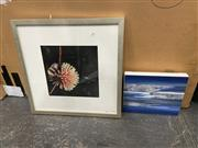 Sale 9004 - Lot 2088 - Lawson Bell Enqerie mixed media on canvas, together with a Still Life colour photograph , 25.5 x 31cm; 54 x 54cm frames.