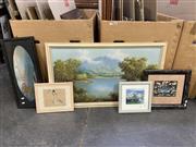 Sale 9050 - Lot 2079 - 5 Art Works incl Landscapes, Oriental Woman, etc