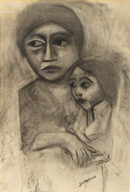 Sale 9161 - Lot 573 - ROBERT DICKERSON (1924 - 2015) Mother & Child charcoal 70 x 46.5 cm (frame: 103 x 77 x 3 cm) signed lower right