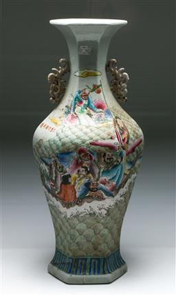 Sale 9153 - Lot 99 - A large handpainted Chinese vase featuring immortals - repair to base (H:63cm)