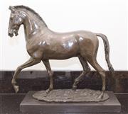 Sale 8338A - Lot 1 - A bronze figure of a horse, signed VobisoN.A ?, H 53 x L 55cm