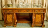 Sale 8392H - Lot 89 - An impressive C19th walnut pedestal desk with three drawers and two doors and shelf to base, with tooled and gilt leather top, H 77...