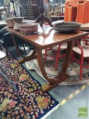 Sale 8554 - Lot 1045 - Florence Elm Inlaid Top Art Deco Table (H 78.5 x L 140 x W 70cm)