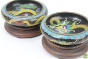 Sale 8621 - Lot 31 - Chinese Cloisonne Pair of Dragon Themed Bowls on Stand (Dia 20cm)