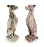 Sale 8660A - Lot 47 - A pair of well weathered cast stone garden figures of greyhounds/whippets, some small chips, H 78cm