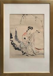 Sale 8686 - Lot 2022 - Utagawa School - A Woman Playing a Shamisen, c1890, ink and watercolour, 60 x 41cm (frame size), unsigned