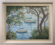 Sale 8759 - Lot 2026 - Christine Hill - Between the Trees, oil on canvas board, 52 x 63cm (frame) signed lower left -