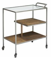 Sale 8957T - Lot 35 - An Art Deco  style drinks cart. Pewter frame with Solid Fruit Wood Shelves and clear glass top shelf. Antique hooded castors. W77...