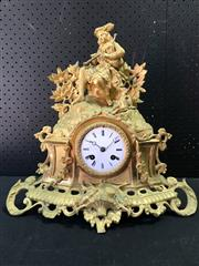 Sale 9048 - Lot 1093 - Mid 19th Century French Gilt Mantle Clock Possibly for the British Market, the movement stamped Linet Aine, Paris, having a white en...